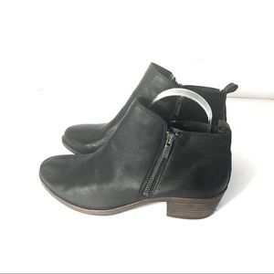 Lucky Basel Ankle Leather Side Zip Boot. Black. 11